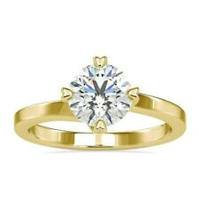 Heart Prongs Compass Set, 1.19 CT Round Cut Moissanite Solitaire Ring 10K Gold