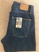 Mens Nudie Sharp Bengt Recycle Dark Worn Regular Tapered Blue Jeans W32 L34