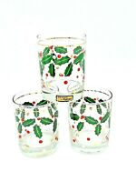 Culver Glass Holiday 22K Gold Trim Holly Glasses, Set Of 3 Christmas Barware🌲🎁