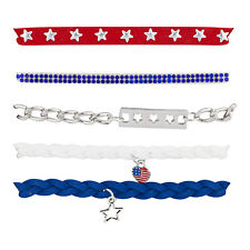 Lux Accessories Red Blue White Star Silver Tone Chain Braid Multistrand Bracelet