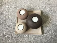 Stone-look Ceramic Tealight Holders With Base.