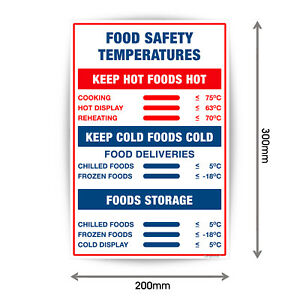 Food Safety Temparatures Food Hygiene Signs Stickers Waterproof A4 V1087