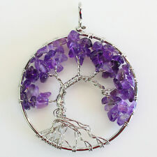 Natural Amethyst Chips Beads Tree of Life Reiki Chakra Silver Round Pendant
