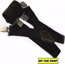 New Motorcycle rider elasticated trouser braces, black, Heavy Duty, Extra wide