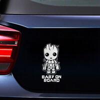 Baby On Board Cute Groot Car Sticker Truck Laptop Toolbox PET Windshield Decal