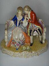 Antique 5 Prong Crown N Mark Porcelain Courting Couple Vintage Figurine