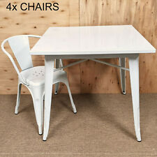More details for white tolix 4 four metal chair & table dining set retro french bistro bar cafe