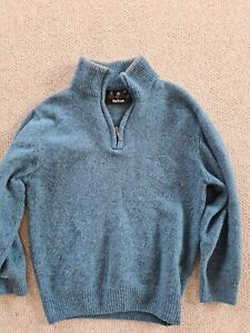 Mens Barbour Blue Size M Pullover Donegal Zip Neck