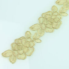 Flower Lace Vintage Trim Braid Ribbon Applique Metalic Gold Fabric Sewing 2yds