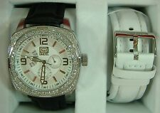 NEW Mens Marc Ecko UNLTD Watch Silver Gift Set Leather E18512G1 $185 Diamonds