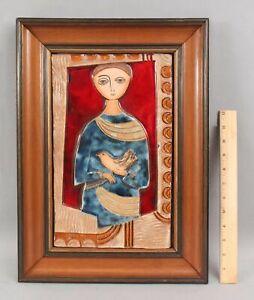 Signed ??? Mid-Century Modernist Terracotta Pottery Tile Plaque, Man w/ Bird NR