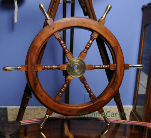 "Teak Wood Ships Steering Wheel 30"" Brass Handles & Hub Nautical Boat Wall Decor"
