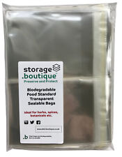 storage.boutique BIODEGRADABLE Food Certified transparent sealable bags, 250 pk