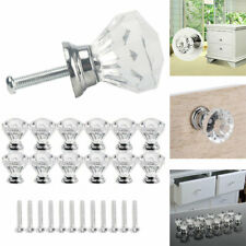 12Pcs Clear Crystal Diamond Door Knobs Glass Handles Cabinet Cupboard Drawer Hot