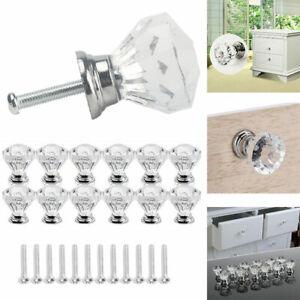12X Clear Crystal Pull Handle Rhinestone Door Knob Cabinet Drawer Cupboard Decor