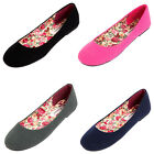 Womens Canvas Ballet Flats Slip On Casual Shoes Plain Ladies Ballerina Slippers