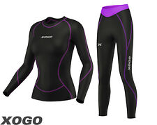Ladies Compression Top Long Sleeve Base Layer Running Gym Training Tights Set.