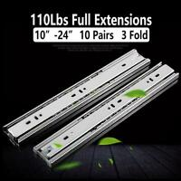 "10 Pairs 3-Fold Full Extension 100-lb Ball Bearing Drawer Slides 10""-24"""