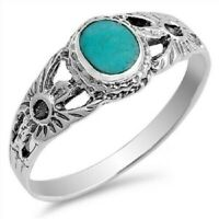 Sterling Silver Textured Oval Turquoise Ring - Free Gift Packaging