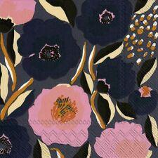 Marimekko ROSARIUM blue rose paper table 33cm square lunch napkins 20 in pack