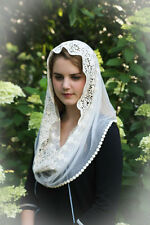 Evintage Chapel Veil Mantilla Infinity Veil Scarf Latin Mass Ivory Lace French