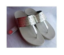 New Fitflop Bahia Silver Metallic Grey Base Toe Post Mules Sandals BNWT Size 6.5