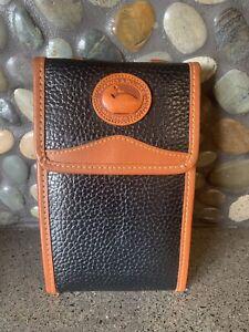 RARE Vtg Dooney & Bourke Duck Black & Brown Pebble Leather Wallet Belt/Crossbody
