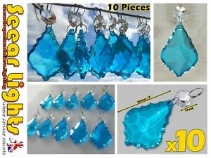 """10 CHANDELIER CUT GLASS CRYSTALS 2"""" LEAF DROPS TURQUOISE WEDDING PRISMS BEADS BN"""