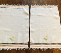 Vintage Cross Stitch Dish Towels with Sunflowers, Orange, Blue, Yellow & Black 2