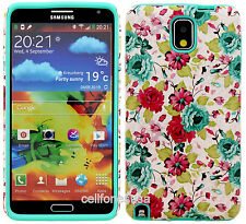 Samsung Galaxy Note 3 Slim Armor Hard Cover Case Colorful Flower On Baby Teal