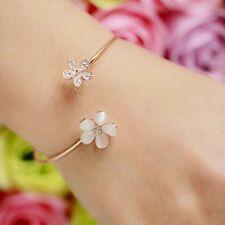 #3001 Opal Rhinestones Inlaid Flower Ajustable Woman Bangle Charming Bracelets