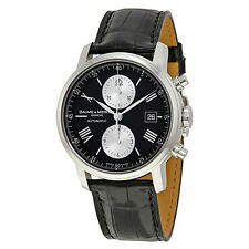 Baume and Mercier Classima Executives XL Black Leather Mens Watch MOA8733