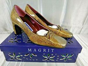 """Magrit Court Shoes Snake Skin Pattern Size 4 Eur 36.5 High Heel 3"""" Vintage"""