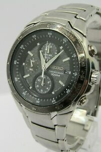 Seiko Flightmaster Chronograph Tachymeter 7T92-0HE0 Stainless Steel WR100M c2011