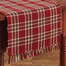 Merry Christmas Table Runner 13X36 Green Red Light Tan Plaid Ribbed Yarn Cotton