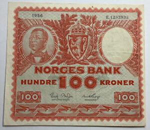 Norway 1956 Scarce 100 Kroner Banknote #Ref09