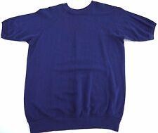 VINTAGE 80s blank sweatshirt short sleeve made in USA blue mens
