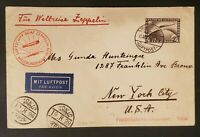 1929 Germany New York via Japan LZ 127 Graf Zeppelin Air Mail Postcard Cover