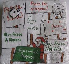 "CHRISTMAS  Beverage Napkins  PEACE  20 ct 3 ply 10"" x 10"""