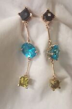14k yellow gold custom made multi gemstone stud dangle earrings
