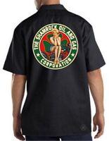 SHAMROCK OIL & GAS Mechanics Work Shirt ~ Dickies ~ Motorcycle Pinup Girl Bike