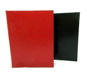 Graphic Image Photo Album Leather 7x9 Flat Bound Book 64 Clear Pockets Red