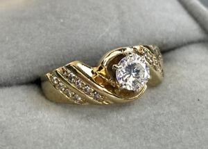.5ct Diamond Vintage Engagement Ring 14k Yellow Gold Half 1/2 Carat Wedding