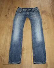 Blue Denim DIESEL INDUSTRY Low Rise Distressed Faded Straight Jeans Size 27 L 34