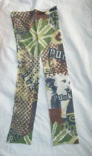 Punk Print Footless Cropped Tights. 10-14 New green black white ladies