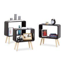 Relaxdays Étagère 3 Cubes Carrés Bibliothèque bois MDF 4 pieds Commode Tablet...