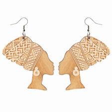 with Headscarf Earrings Ethnic Jewelry African Earrings Wood Carving Black Women