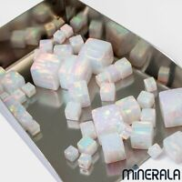 [WHOLESALE] WHITE SYNTHETIC LAB CREATED OPAL CUBE LOOSE BEADS VARIOUS SIZES