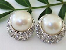 Perlen Ohrstecker 925 Sterling Silber 14mm Ohrringe Sw Zuchtperen Natur Zirkonia