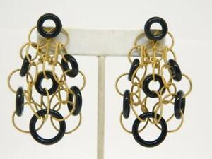 Gold Plated Sterling Silver Onyx Circle Hoop Link Multi Dangle Pierced Earrings
